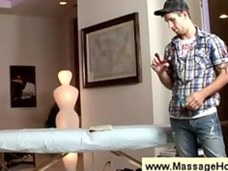 soccer player undresses for a massage