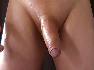 masturbate my uncut cock, with thick cum shot