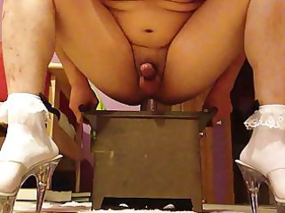 crossdresser anal sex-toy riding frilly socks and